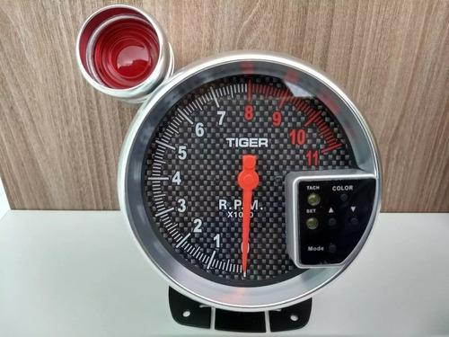 velocimetro contagiros carbono esportivo tuning led 7 cores