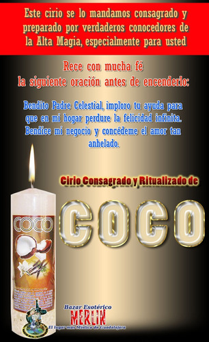 velón consagrado de coco / abre caminos amor y negocios