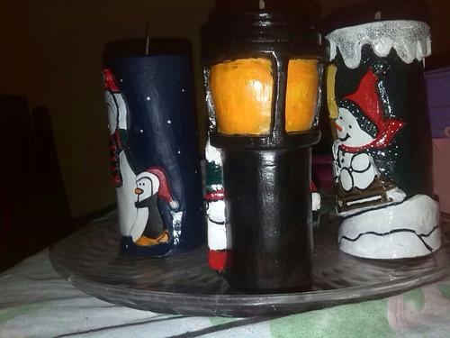 velones tallados decorativos, navideños