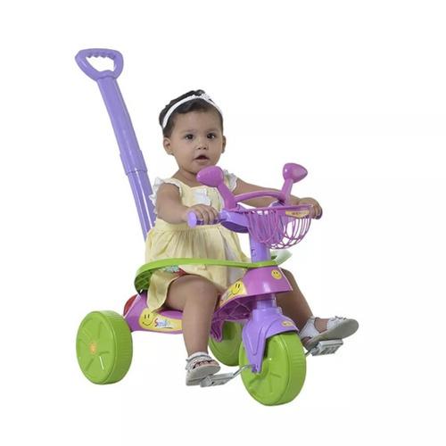 velotrol triciclo com empurrador e protetor confort promoção