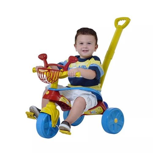 velotrol triciclo com empurrador protetor confort promoção