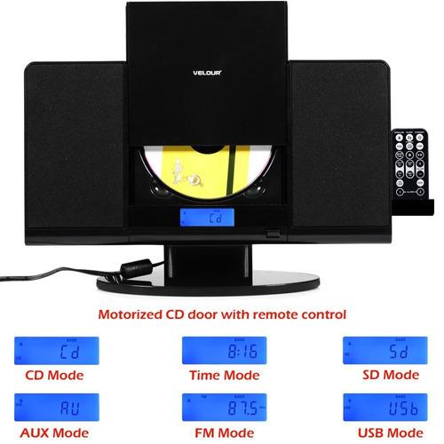 velour - reproductor de cd de diseño fino con usb sd