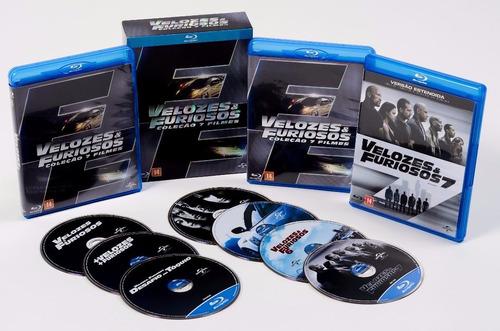 velozes e furiosos box blu-ray 7 filmes novo - frete grátis