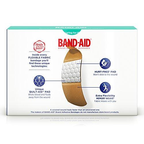 vendas band-aid brand adhesivas, tela flexible, 381370044444