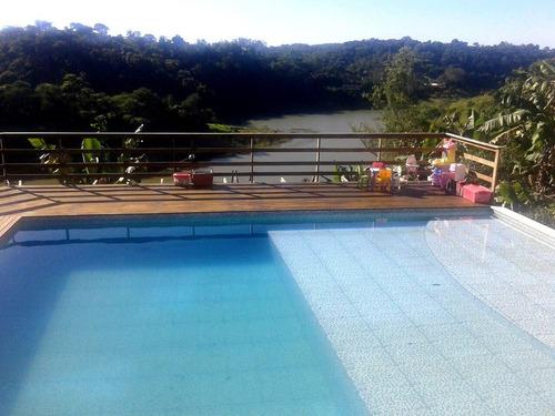 vende chácara com piscina e fundo para a represa no recanto do céu - 450 mil