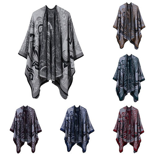 vendimia mujeres faux cachemira poncho rebeca suéter anacard