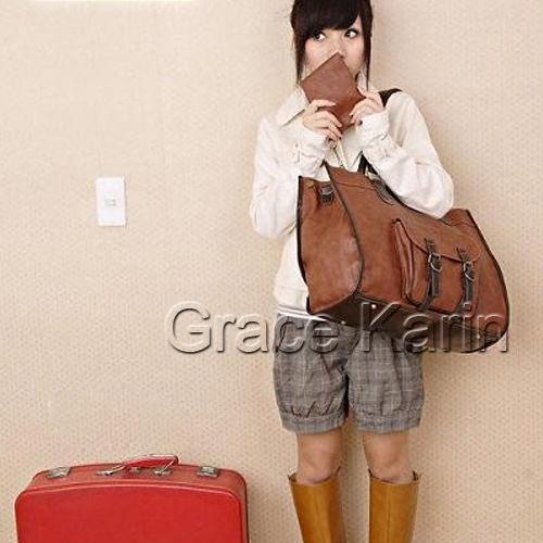 vendimia mujeres pu cuero grande bolsas hombro bolso viajes