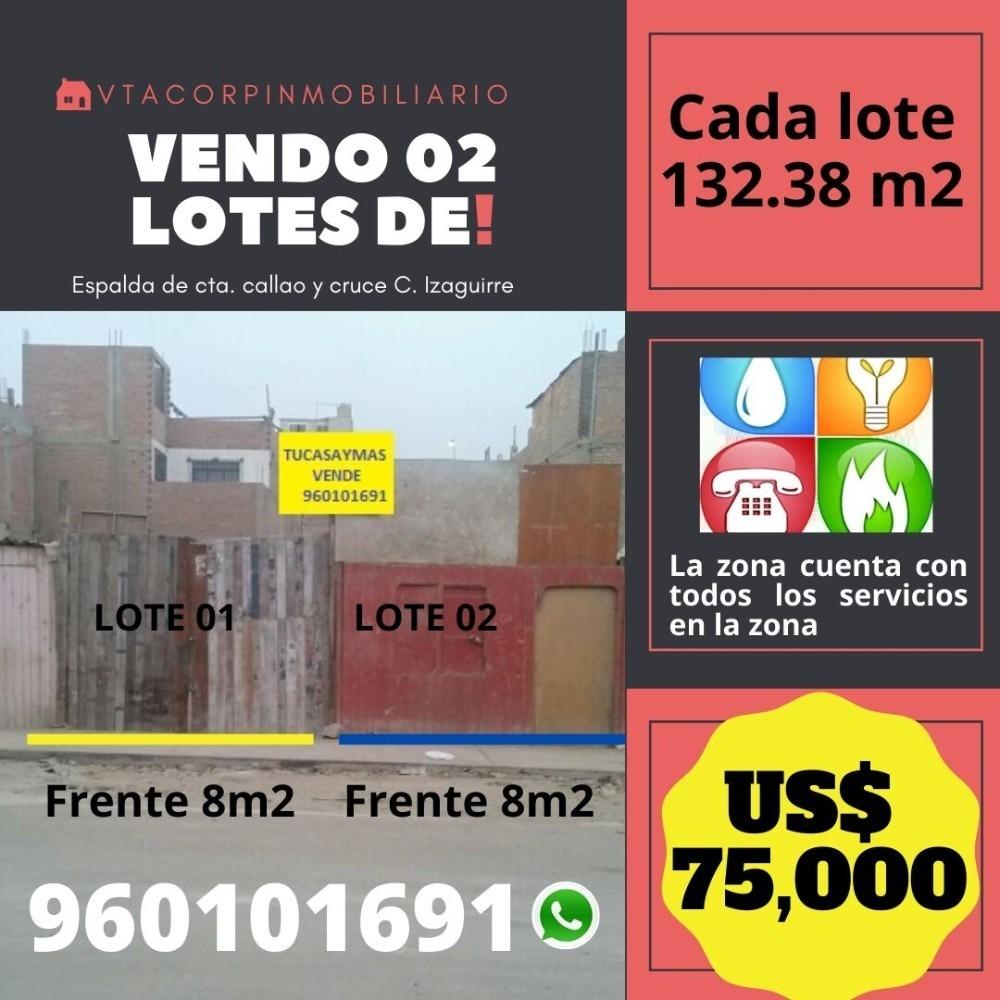 vendo 02 lotes de 132.38 m2