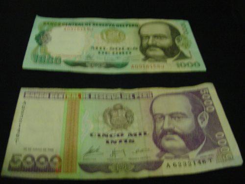 vendo 2  billetes antiguos de 1000 soles de oro y 5000 intis