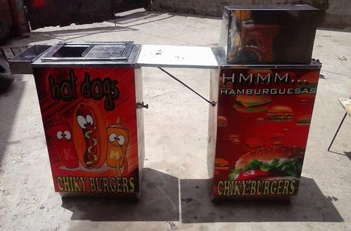 vendo 2 carritos uno de perros calientes y hamburguesas.