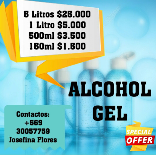 vendo alcohol gel 70° despacho a domicilio, solo santiago