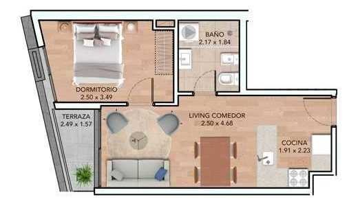 vendo apartamento 1 dormitorio con terraza en  la blanqueada