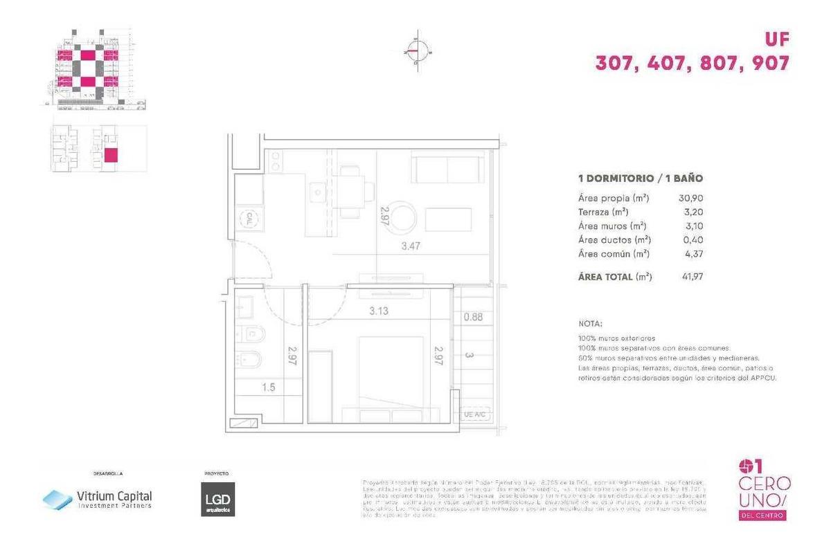 vendo apartamento de 1 dormitorio con terraza en el cordon