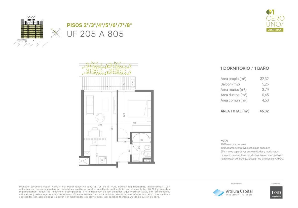 vendo apartamento de 1 dormitorio con terraza en la aguada