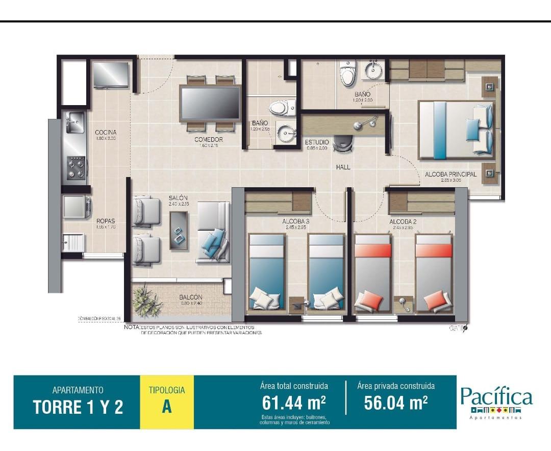 vendo apartamento, sector ditaires, suramérica $ 230.000.000
