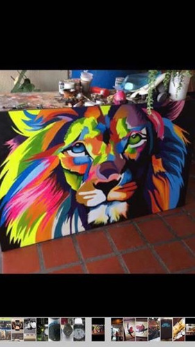 vendo bello cuadro león moderno 300dolares grande