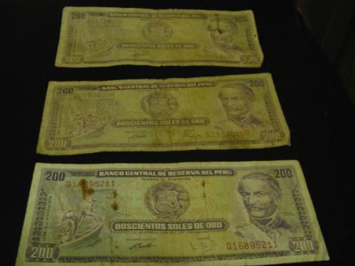 vendo billetes antiguos de 200 soles de oro del 1974
