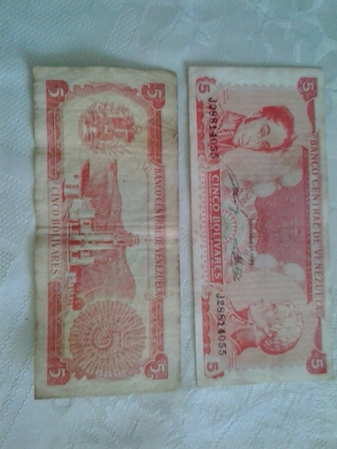 vendo billetes antiguos de 5 bolivares