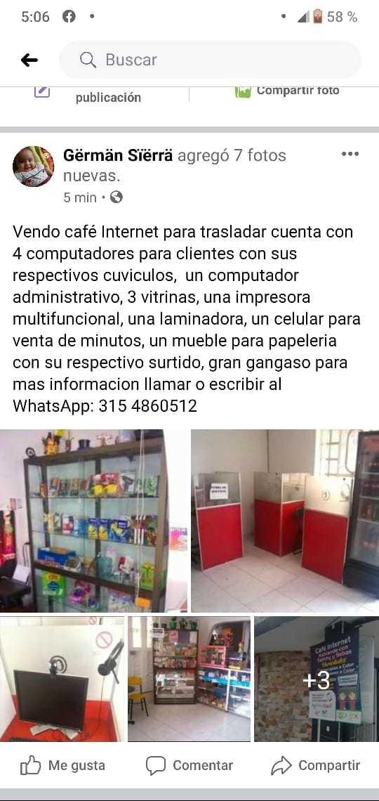 vendo café internet para trasladar economico