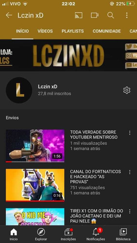 vendo canal do youtube
