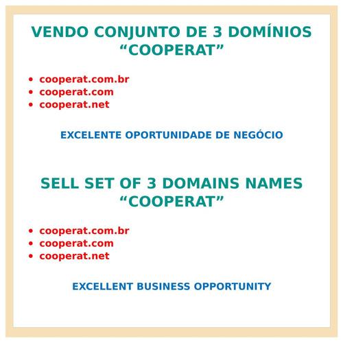vendo conjunto de 3 domínios cooperat p/ site internet