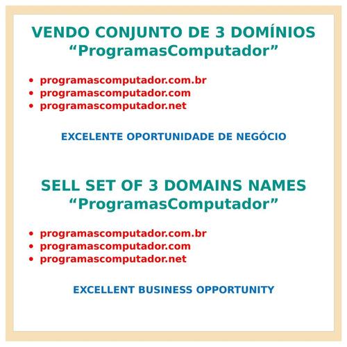 vendo conjunto de 3 domínios programascomputador p/site