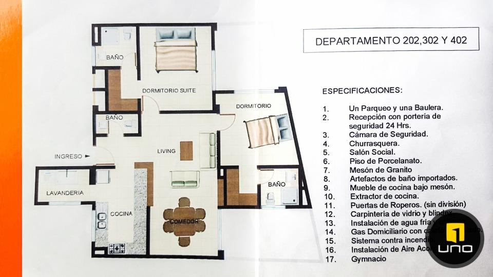 vendo departamento de 2 suites zona kolping