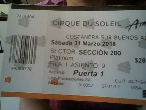 vendo entradas cirque du soleil sabado 31 funcion 21 hs.