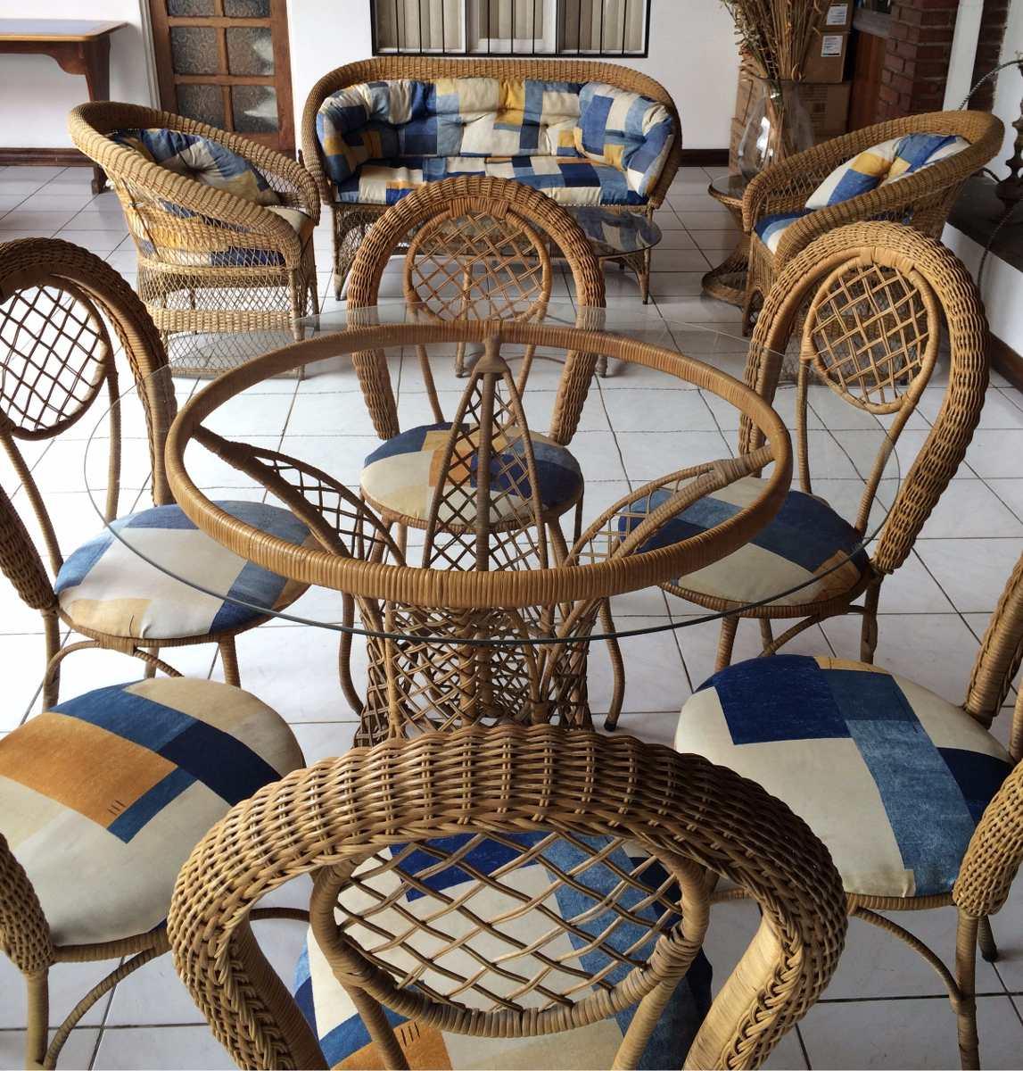 Vendo juego de sala comedor de mimbre para terraza for Sillones de terraza usados