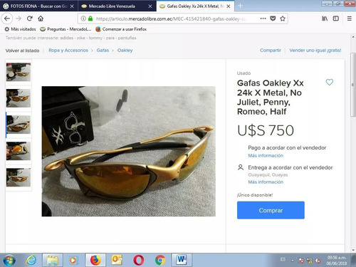 vendo lentes oakley modelo x metal xx 24 kilates