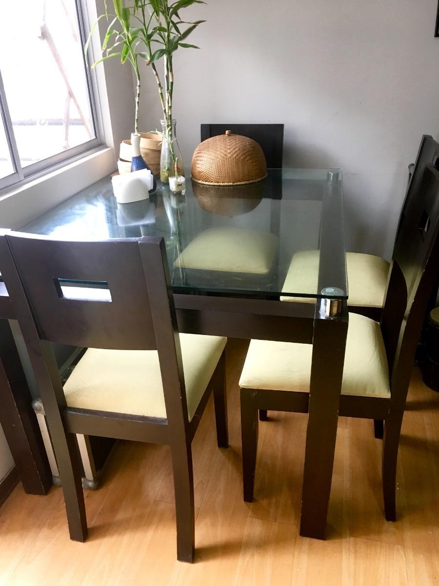 Vendo Mesa Comedor Y Sillas.Vendo Mesa Comedor Madera Con Tablero De Vidrio Y 4 Sillas S 650 00