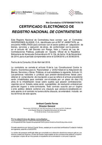 vendo registro mercantil; snc activo y codigo sunagro activo