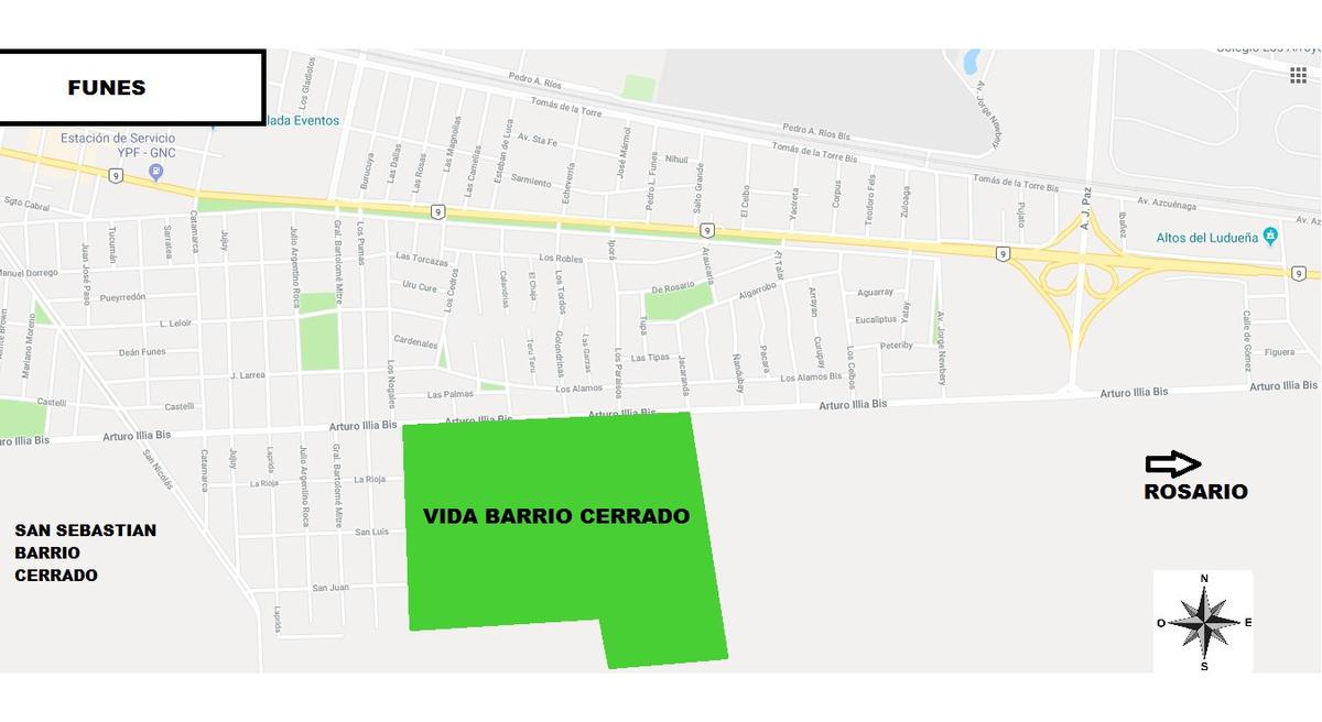 vendo urgente - terreno en barrio cerrado vida - funes
