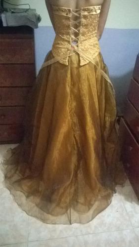 vendo vestido de 15 años usado hermoso color broce