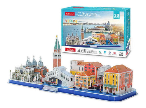 venecia city line - puzzle 3d - 126 piezas - cubicfun