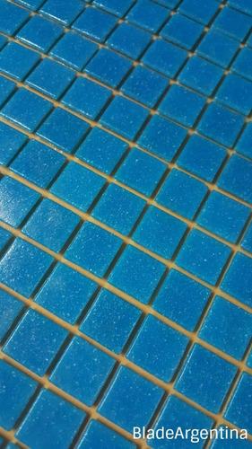 venecitas biseladas celeste oscuro 2x2. aptas pileta o baño.