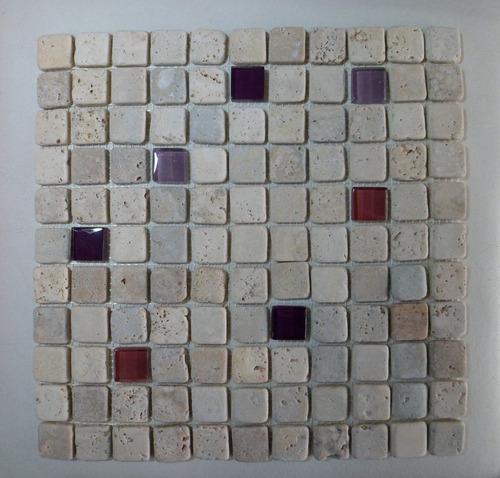 venecitas guardas mosaicos combinados de vidrio y travertino