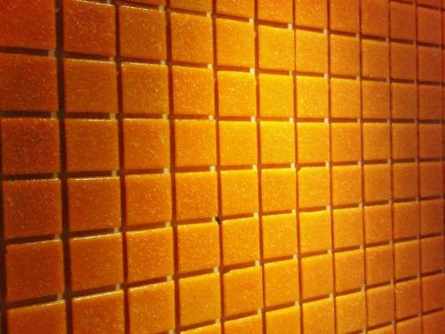 venecitas naranjas 2x2 cm biseladas revestimiento x plancha