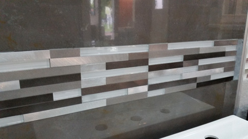venecitas revestimiento malla de aluminio lund strips beige