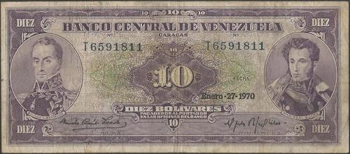 venezuela 10 bolivares 27 ene 1970 serie t 7 dig p45g