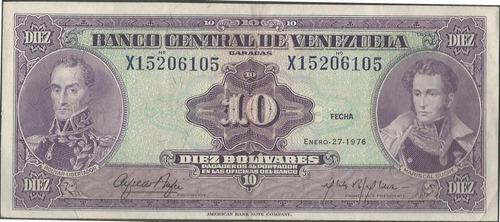 venezuela 10 bolivares 27 ene 1976 serie x 8 dig p51e