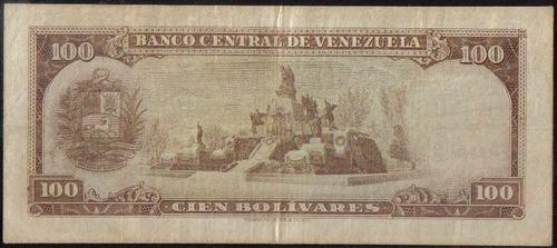 venezuela 100 bolivares 18 mar 1969 serie u 7 dig p48f