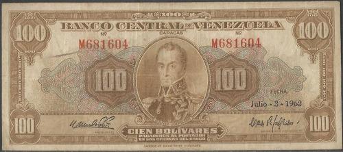venezuela 100 bolivares 3 jul 1962 serie m 6 dig p34d