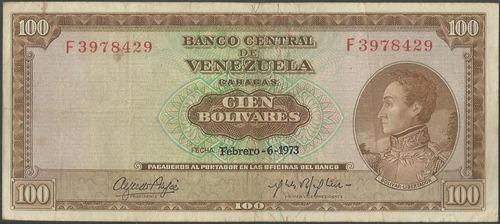venezuela 100 bolivares 6 feb 1973 serie f 7 dig p48j
