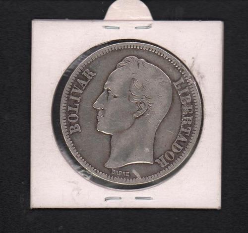 venezuela 1921 cinco bolivares plata lei 900 de 25 gramos ex