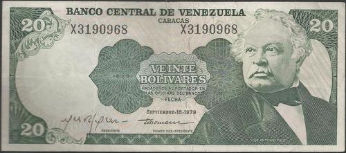 venezuela 20 bolivares 18 sep 1989 serie x 7 dig p53c