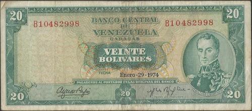 venezuela 20 bolivares 29 ene 1974 serie b 8 dig p46e