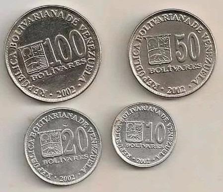 venezuela - 4 monedas de 10 - 20 - 50 y 100 bs del 2002