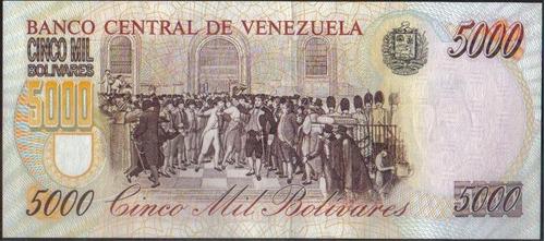 venezuela, 5000 bolivares 16 jun 1997 serie b 8 dig p78a