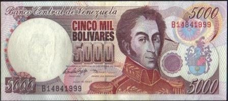 venezuela 5000 bolivares 16 jun 1997 serie b 8 dig p78a